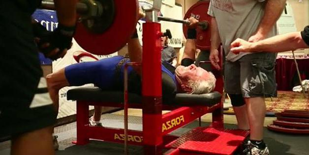 91 year old weight lifter bench pressing 85 kilos