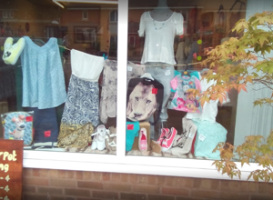 The window of the Pepperpot Clothing shop