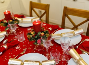 Dining table ready for Christmas dinner