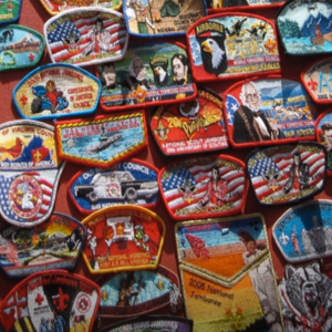 Lots of colourful scout badges