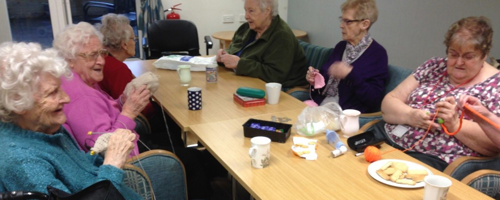 William Lench Court residents knitting together