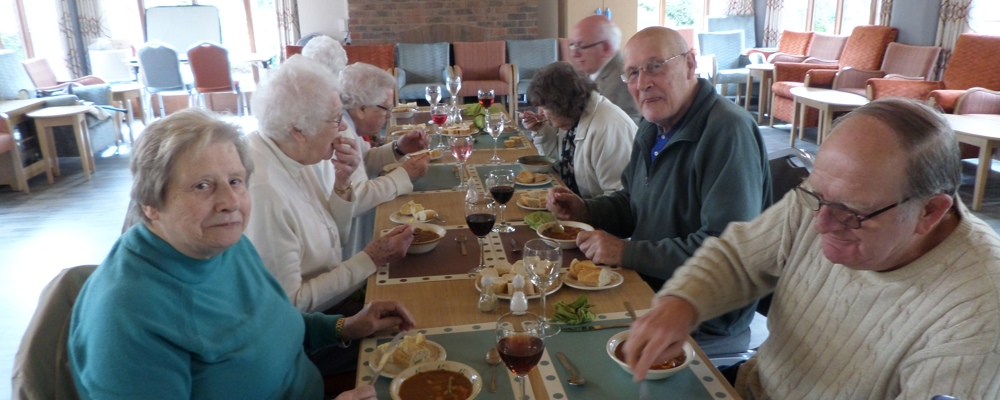 Residents enjoying their delicious food