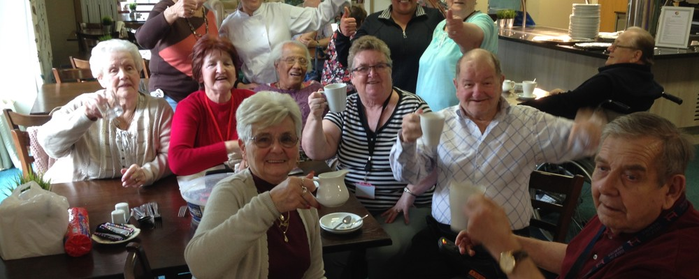 Residents celebrating the restaurants sucess